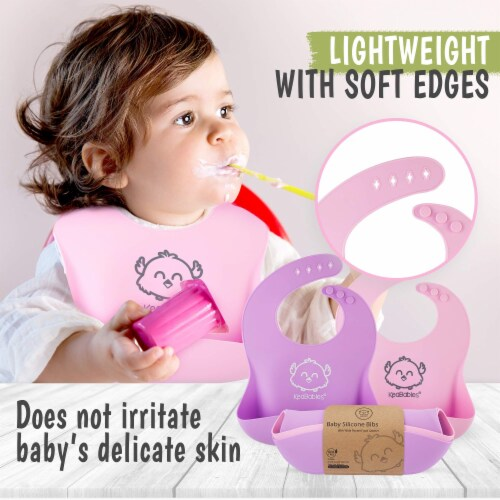 Silicone Bibs (Cotton Candy) Perspective: left
