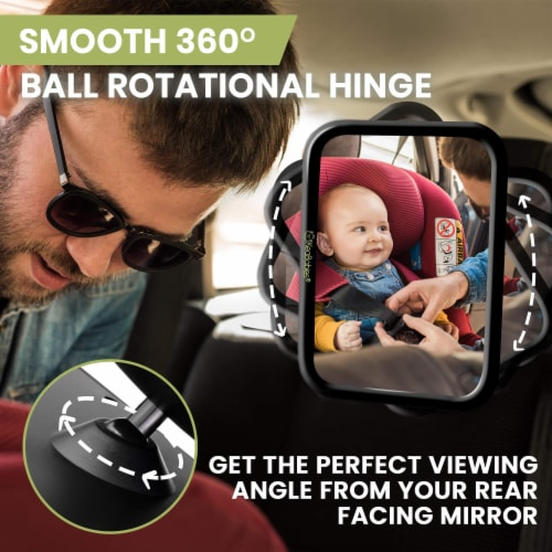 Baby Car Mirror For Rear Facing Infant Car Seat (Sleek Black) Perspective: left