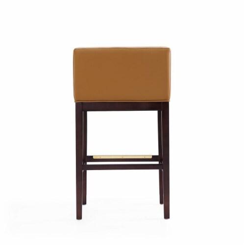 Manhattan Comfort Kingsley 38 in. Camel and Dark Walnut Beech Wood Barstool Perspective: left