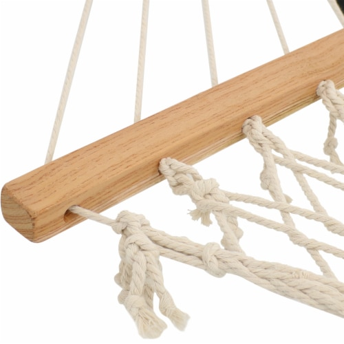 Sunnydaze Cotton Rope Hammock with Stand - Unfinished Wood Spreader Bars Perspective: left