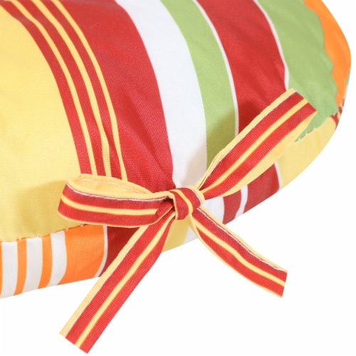 Sunnydaze Polyester Round Patio Seat Cushions - Set of 2 - Sherbert Stripes Perspective: left