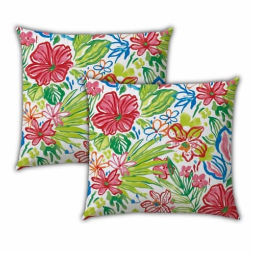 Joita Tropical Fruit Salad Polyester Zippered Pillow Covers in Red (Set of 3) Perspective: left