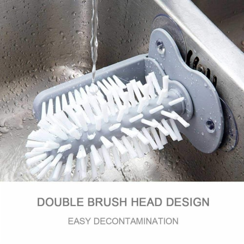 Glass Washer with Double Sided Bristle Brush, Glass Cup Brush Cleaner with Suction Cups Perspective: left