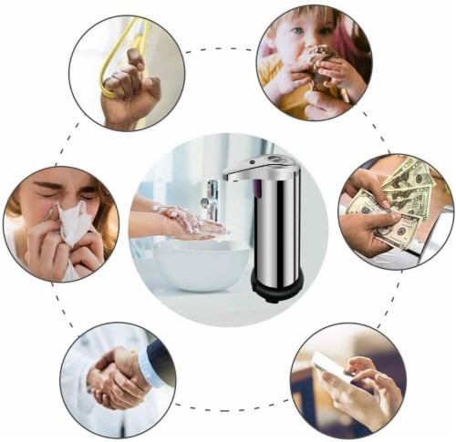 Soap Dispenser, Touchless Automatic Soap Dispenser Waterproof Base Stainless Steel Infrared Perspective: left