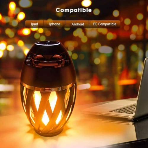 Portable Bluetooth 5.0 Indoor/Outdoor Wireless Speaker LED Torch Atmosph iPhone/iPad/Android Perspective: left