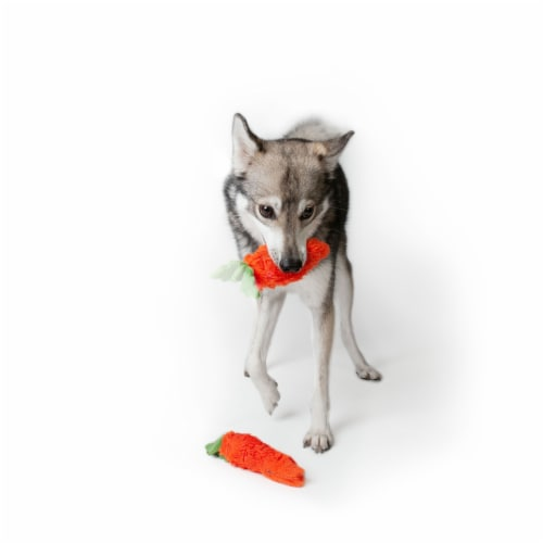 Midlee Plush Carrot Easter Dog Toy- Pack of 2 Perspective: left