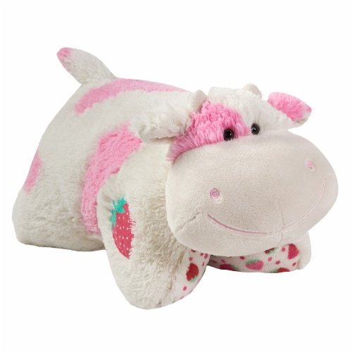 Pillow Pets Jumboz Sweet Strawberry Milkshake Scented Cow Plush Toy Perspective: left