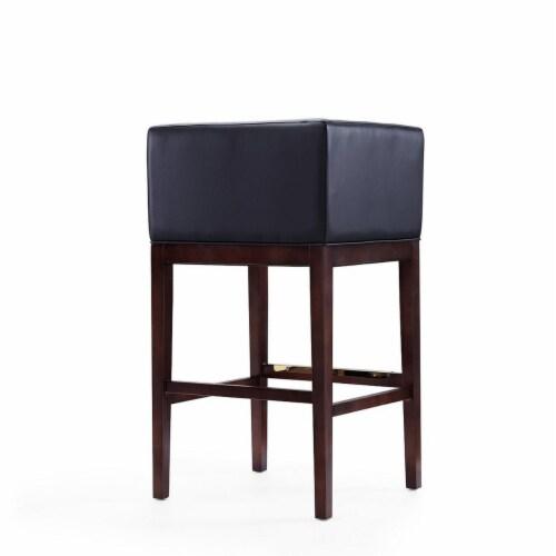 Manhattan Comfort Kingsley 38 in. Black and Dark Walnut Beech Wood Barstool (Set of 2) Perspective: left