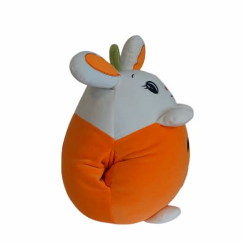 Carrot Bunny Plush Pillow Stuffed Toy | Swiss Jasmine® Plushies | with Blanket | 16 Inches Perspective: left