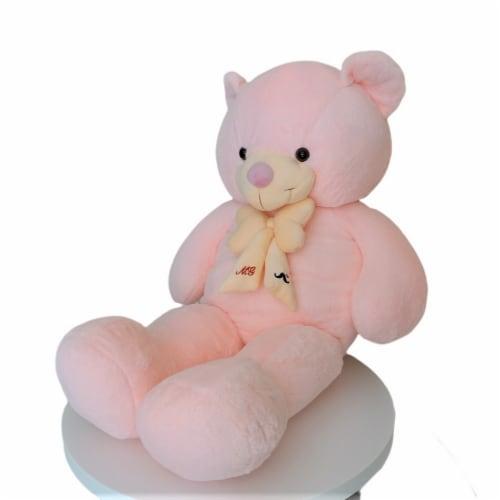 Teddy Bear   Bearded Bowtie Stuffed Animal   Swiss Jasmine® Plushies   32 Inches, Pink Perspective: left