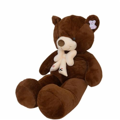 Teddy Bear | Bearded Bowtie Stuffed Animal | Swiss Jasmine® Plushies | 39 Inches, Coffee Perspective: left