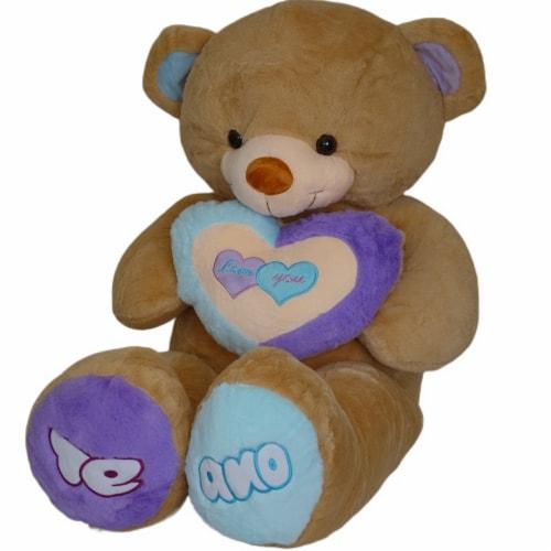 Teddy Bear Rainbow Love Heart Stuffed Animal   Swiss Jasmine® Plushies   32 Inches Perspective: left