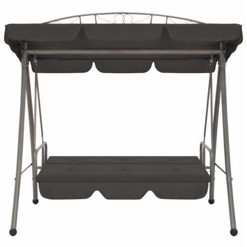 vidaXL Outdoor Convertible Swing Bench with Canopy Anthracite 78 x47.2 x80.7  Steel Perspective: left