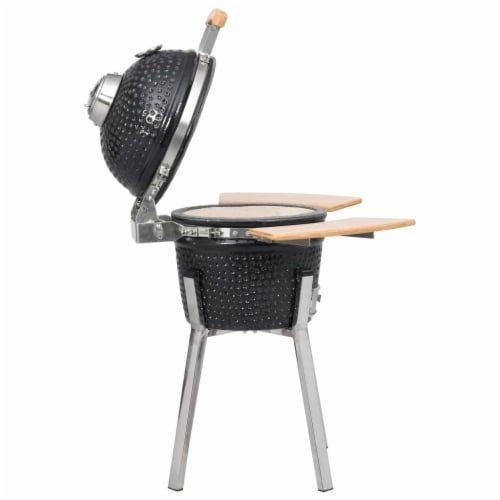 Kamado Barbecue Grill Smoker Ceramic 31.9 Perspective: left
