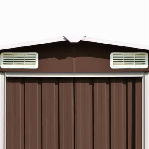 vidaXL Garden Shed Brown 101.2 x306.7 x71.3  Galvanized steel Perspective: left