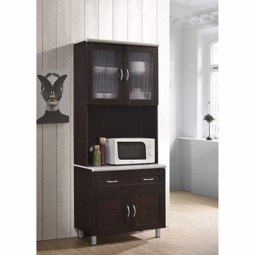 Hodedah Dining Room China Dinnerware Microwave Storage Cabinet, Chocolate Perspective: left