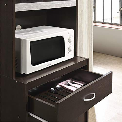 """Hodedah Import 70"""" Tall Top/Bottom Enclosed Kitchen Cabinet w/ Drawer, Chocolate Perspective: left"""