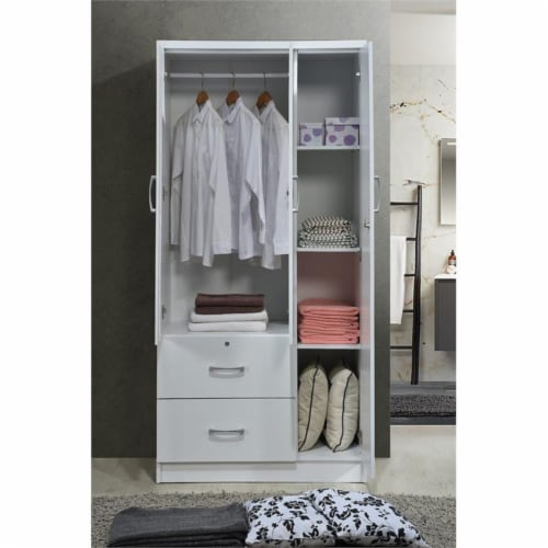 Hodedah 3 Door Armoire with 2 Drawers 3 Shelves in White Wood Perspective: left