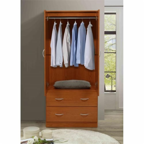 Hodedah 2 Door Armoire with 2 Drawers Clothing Rod and Mirror in Cherry Wood Perspective: left