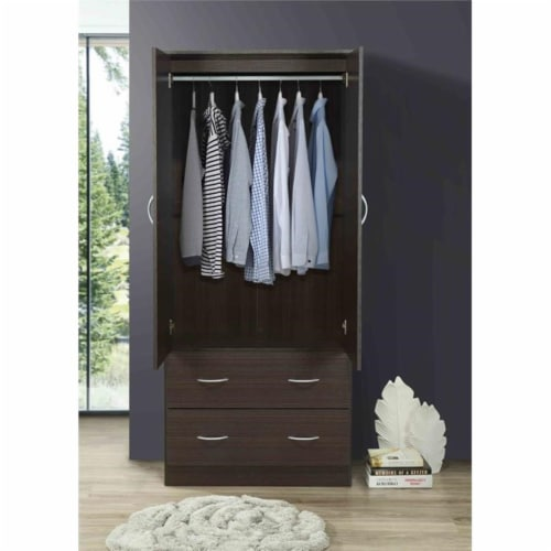 Hodedah 2 Door Armoire with 2 Drawers Clothing Rod and Mirror in Chocolate Wood Perspective: left