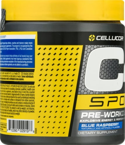 C4 Sport Blue Raspberry Pre-Workout Powder Supplement Perspective: left