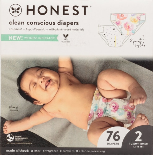 The Honest Co. Painted Feathers + Bunnies Size 2 Print Diapers Perspective: left