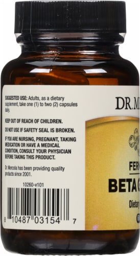 Mercola Fermented Beta Glucans Supplement Capsules Perspective: left