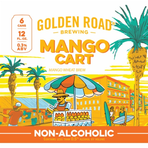 Golden Road Brewing Mango Cart Wheat Beer 6 Cans Perspective: left