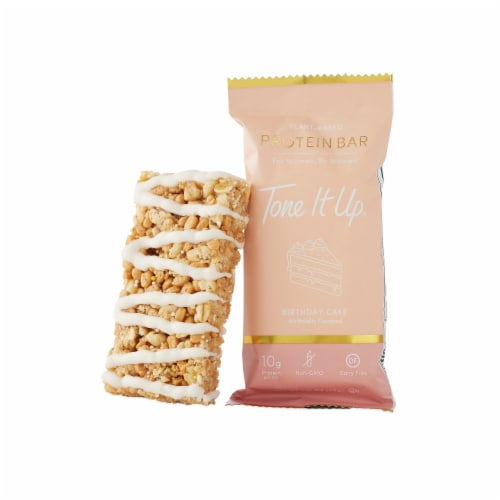 Tone It Up Birthday Cake Plant-Based Protein Bars Perspective: left