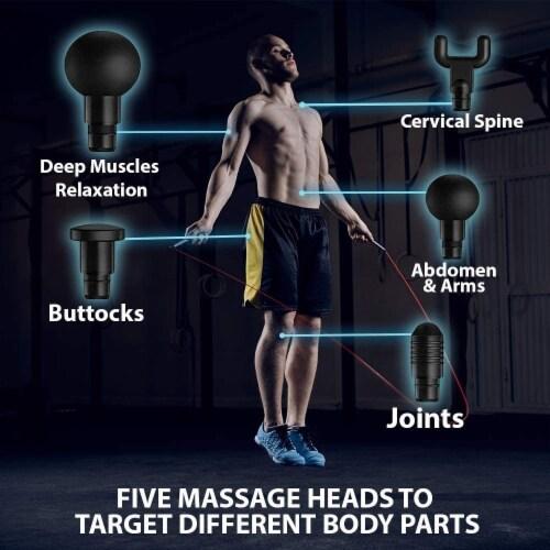 WBM Smart Massage Gun, Light Weight & Portable, Eases Muscle Pain, 5 Massage Heads | White Perspective: left