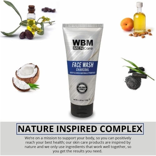 WBM Men Care Face Wash, Purifying & Hydrating Charcoal Cleanser, For All Skin Types | 5.29 Oz Perspective: left
