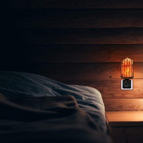 Himalayan Glow Pink Salt Wall Plug in Lamp, 360° Rotatable Base, Pillar Nightlight   2 Packs Perspective: left