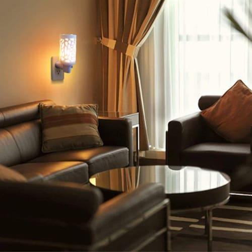 Himalayan Glow Bedroom Decoration Lamp, Warm Amber Glow, Natural Salt Night Light | 2 Pack Perspective: left