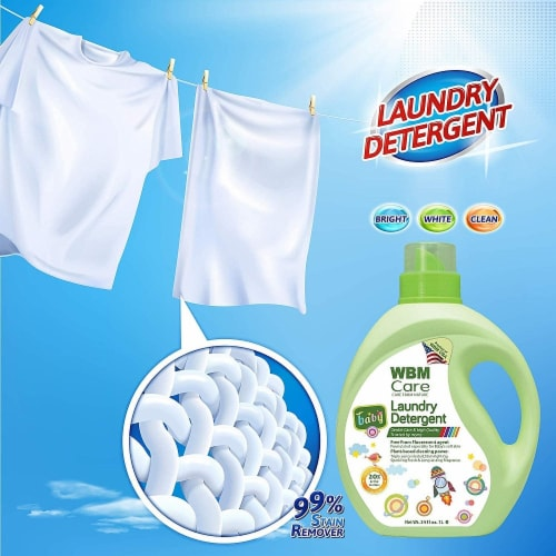 W Home Baby Laundry Detergent, Hypoallergenic, Removes Tough Stains   2 Packs   34 Oz Each Perspective: left