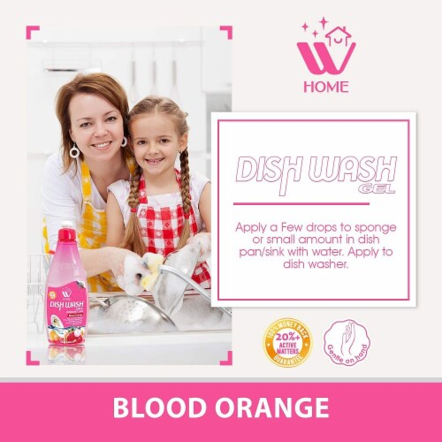 W Home Dishwashing Liquid, Blood Orange Formula, Powerful Grease Remover | Pack of 3/17 Oz Perspective: left