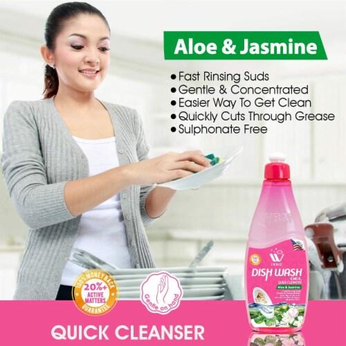W Home Liquid Dish Soap, Dishwasher Detergent, Aloe & Jasmine | Pack of 3/ 17 Oz Each Perspective: left