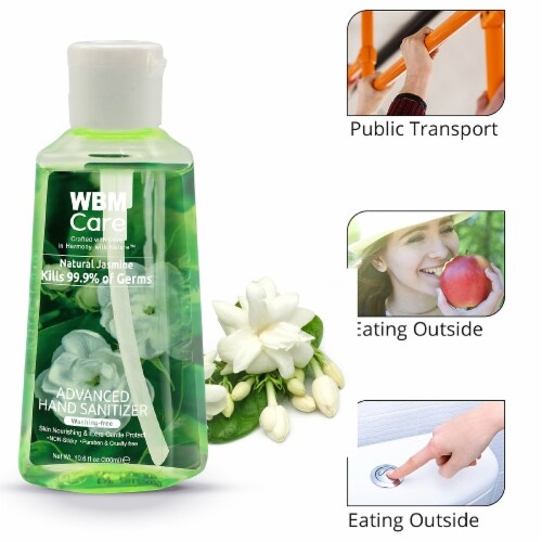WBM Care Hand Sanitizer, Portable, Jasmine Extract, Alcohol-Based, Pack of 6/60 ml Each Perspective: left