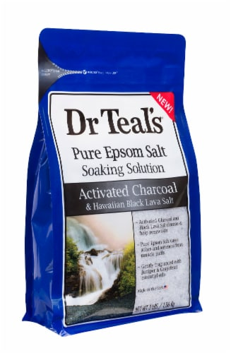 Dr Teal's Activated Charcoal and Hawaiian Lava Salt Epsom Salt Soaking Solution Perspective: left
