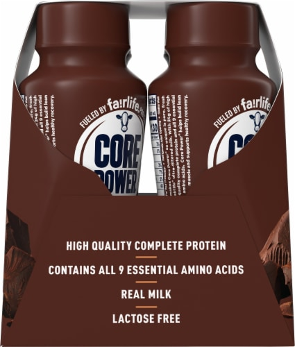 Core Power Chocolate High Protein Milk Shakes Perspective: left