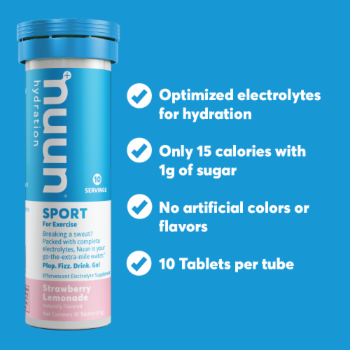 Nuun Hydration Sport Strawberry Lemonade Effervescent Electrolyte Supplement Tablets Perspective: left