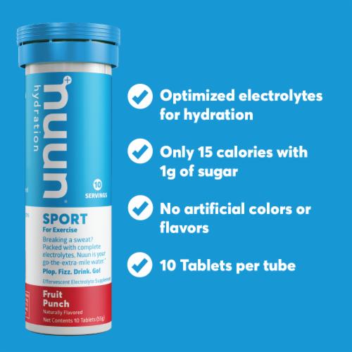 Nuun Sport Fruit Punch Electrolyte Supplement Water Enhancer Tablets Perspective: left