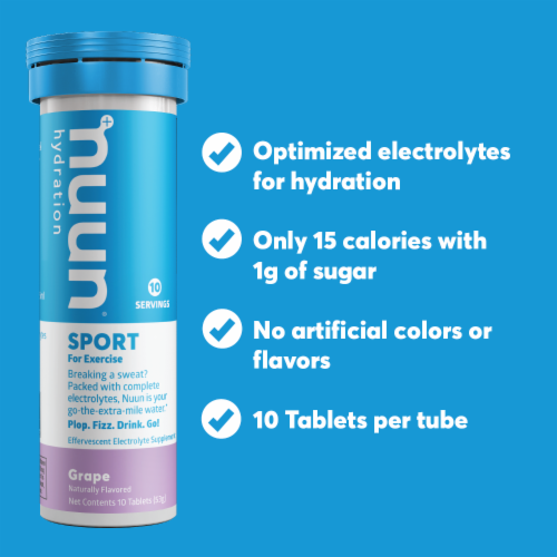 Nuun Sport Grape Electrolyte Supplement Water Enhancer Tablets Perspective: left