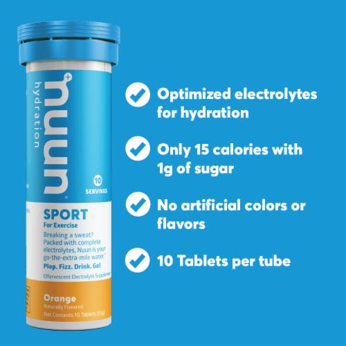 Nuun Sport Orange Electrolyte Supplement Water Enhancer Tablets Perspective: left