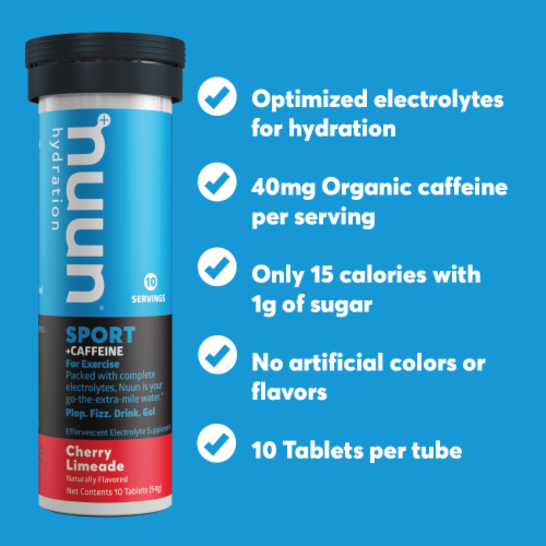 Nuun Hydration Sport + Caffeine Cherry Limeade Effervescent Electrolyte Supplement Tablets Perspective: left