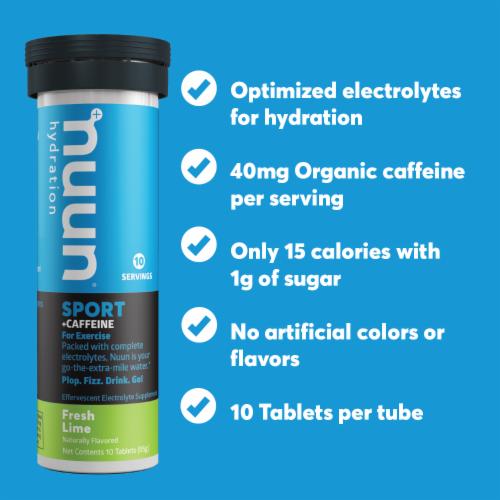 Nuun Hydration Sport + Caffeine Fresh Lime Effervescent Electrolyte Supplement Tablets Perspective: left