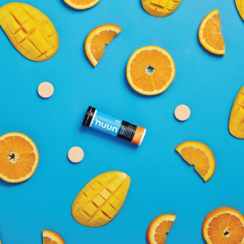 Nuun Hydration Sport + Caffeine Mango Orange Effervescent Electrolyte Supplement Tablets Perspective: left