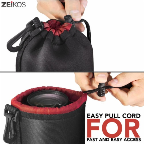 Lens Case, Small Size, Thick Protective Neoprene Pouch Perspective: left