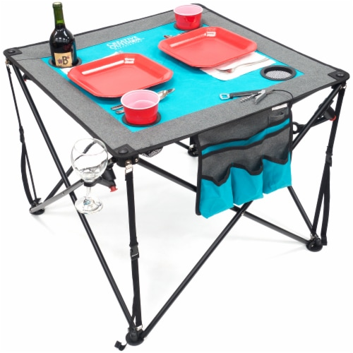 Creative Outdoor Folding Wine Table - Teal/Gray Perspective: left