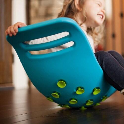 Fat Brain Toys Teeter Popper Balance Board - Blue Perspective: left