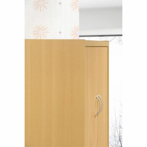 Hodedah 4-Door Kitchen Pantry with 4-Shelves, 5-Compartments in Beech Perspective: left